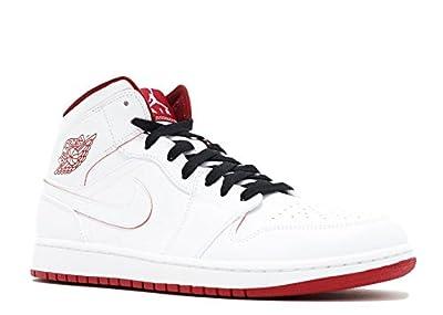 Nike Men's Air Jordan 1 Mid White/Gym Red/Black Basketball Shoe - 8.5 D(M) US