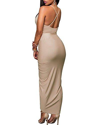 JIALE3536 Vestido Fiesta Mujer,De Fiesta Mujer Vestido De Fiesta,Correa Sólida De Tirantes Asimétricos Micro-Elástico,Media,One-Size Caqui: Amazon.es: ...