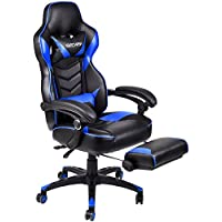Ergonomic Computer Gaming Chair, Large Size PU Leather High Back Office Racing Chairs with Widen Thicken Seat and Retractable Footrest and Lumbar Support (Blue)