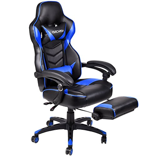 Ergonomic Computer Gaming Chair, Large Size PU Leather High Back Office Racing Chairs with Widen Thicken Seat and Retractable Footrest and Lumbar Support (Blue) by Elecwish