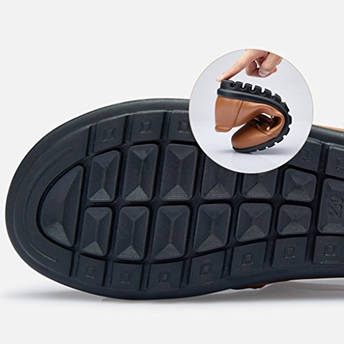 Sandals Mom Bottom Flat Bottom Single Shoes Size brown Yellowish Soft Day ZCJB Head Mother's Middle Aged Leather Women's Shoes Large Gift Shoes Round fn0xw0SW