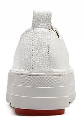Rond Aisun Mode À Femme Plateforme Bout Lacets Blanc Baskets ISrSwq