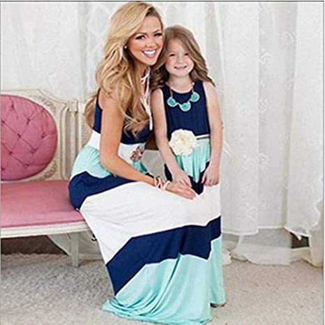 fbb3578fab5ad Family Mother Daughter Dress Summer Girls Striped Mom Sleeveless ...
