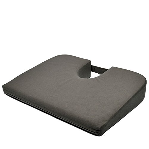 Charcoal Velour Original Tush Cush Orthopedic Wedge Meditation Cushion ()