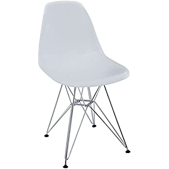 Modway Paris Mid-Century Modern Side Chair with Steel Metal Base in White