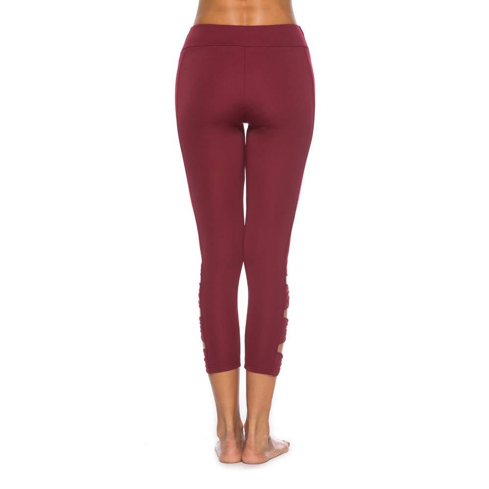 Damen Hohe Taille Sport Leggings Damen 7//8 Sport Leggings Yogahose Sporthose Blickdicht Hohe Taille Shorts Slimming Seamless Pants Mesh Yoga-Fitness-Hose