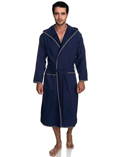 TowelSelections Men's Robe, Cotton Lined Hooded Terry Bathrobe X-Small/Small Patriot - Towel Junior
