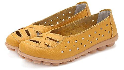 a5fe5b7c ... Fangsto Kvinners Skinn Loafers Flats Sandaler Slip-on Gul ...