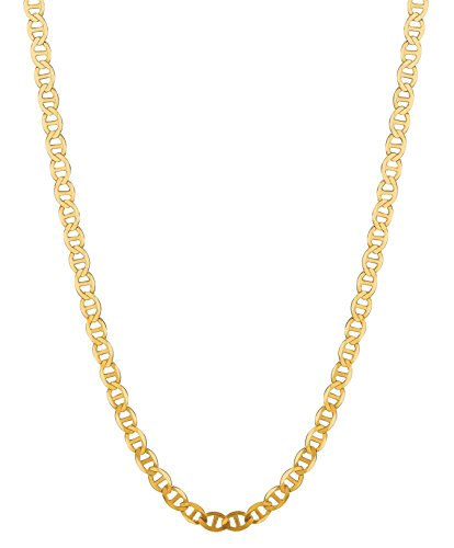 RCI 14K Solid Yellow Gold Anchor Mariner Link Chain Necklace 4.5 Mm 16