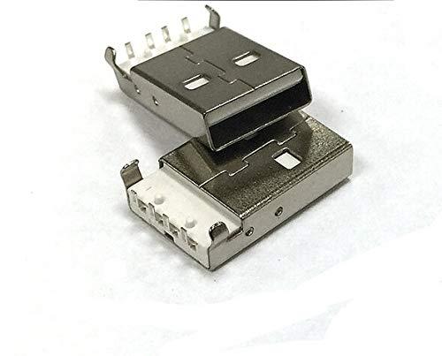 Gimax 100PCS//Lot USB-A Male Connector 90 degree 4Pin Bend feet USB A 2.0