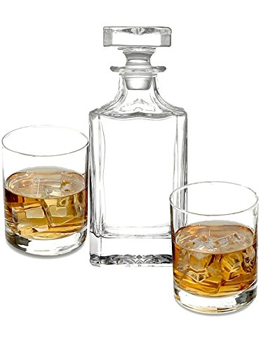 James Scott Whiskey Decanter set for Liquor Scotch Bourbon or Wine, This LEAD FREE Bar Set Includes a 750 ml Decanter with 2 DOF Whisky Glasses-Perfect Men's Gift, Boyfriend Gift, ()