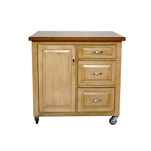 Sunset Trading Brook Kitchen Cart, Distressed Sonoma Oak with Light Walnut Top Finish