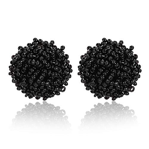 ZITULRY Beaded Stud Earrings Bohemian Statement Cluster Rainbow Seed Beads Big Round Piercing Post Earrings (Black)