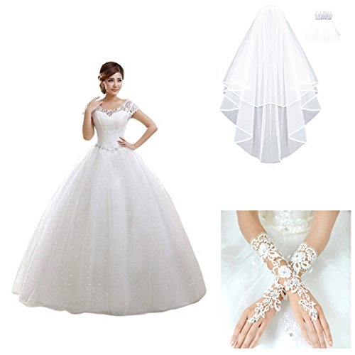 Veils Discount Wedding (Partiss Women's Short Sleeve Lace Wedding Dress (Chinese M, white dress with golves and veil))
