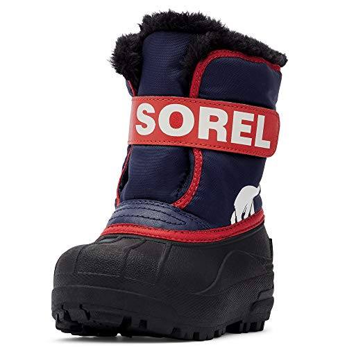 Sorel - Youth Snow Commander Snow Boots for Kids, Nocturnal, Sail Red, 8 M US