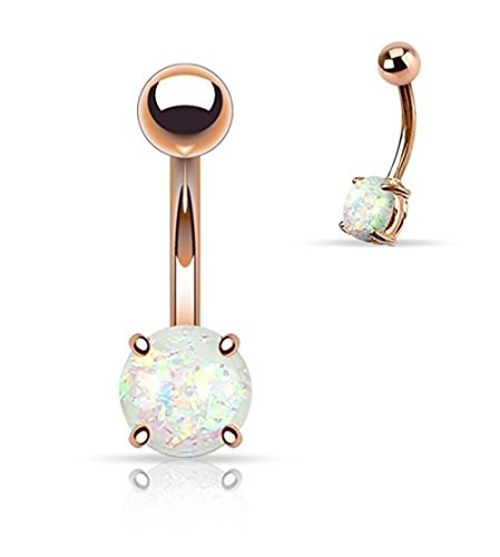Jewels Fashion Prong Glitter Synthetic Opal Rose Gold IP Surgical Steel Belly Button Navel Ring - 14GA (Sold Ind.) (White) (Button Rings Belly Free Shipping)