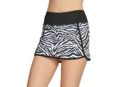Cityoung Women's Athletic Gym Tennis Skirt with Shorts Running Skort (S,Zebra ()