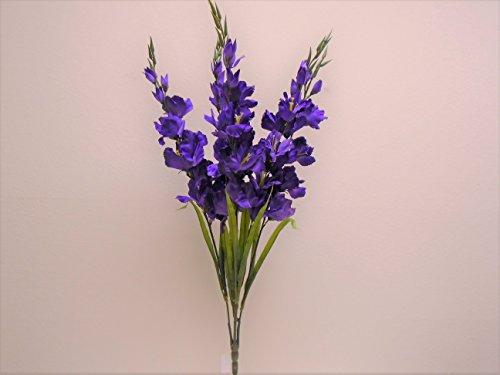 PURPLE Gladiolus Bush 5 Artificial Silk Flowers 32