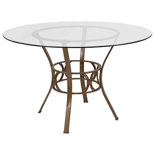 Flash Furniture Carlisle 48 Round Glass Dining Table with Matte Gold Metal Frame