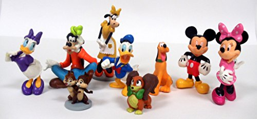 Mickey Mouse Clubhouse 9 Piece Figure Play Set Featuring Mickey, Minnie, Pluto, Goofy, Chip & Dale, Clarabelle, Donald, Daisy, Fifi