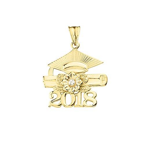 Dazzling 14k Yellow Gold Diamond Class of 2018 Graduation Charm Pendant ()