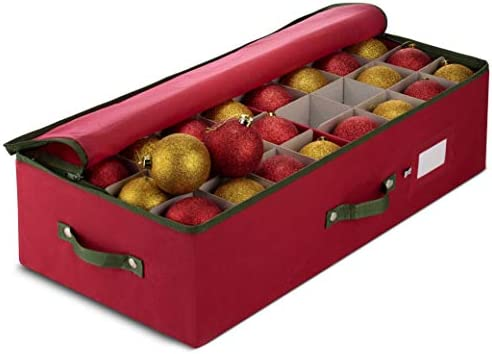 ZOBER Underbed Christmas Ornament Storage Box Zippered Closure - Stores as much as 64 of The 3-inch Standard Christmas Ornaments, and Xmas Holiday Accessories Storage Container with Dividers & Two Handle