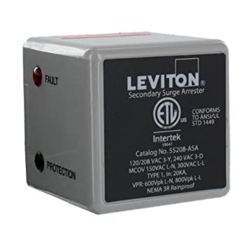 Leviton 55208-ASA 3 Phase 120 208 V WYE or 3 Phase 240 V, Delta Type 1 Surge Arrester