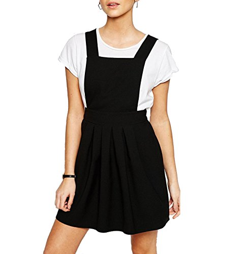 HaoDuoYi Womens Classic Overall Suspender A Line Pleated Mini Dress