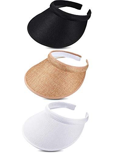 (3 Pieces Sun Visor Hats Summer Wide Brim Clip on Beach Adjustable Large Brim Cap Golf Hat for Women (Color Set 1))