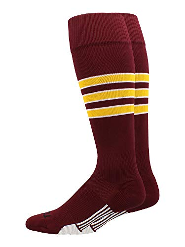 MadSportsStuff Dugout 3 Stripe Baseball Socks (Maroon/Gold/White, Medium)