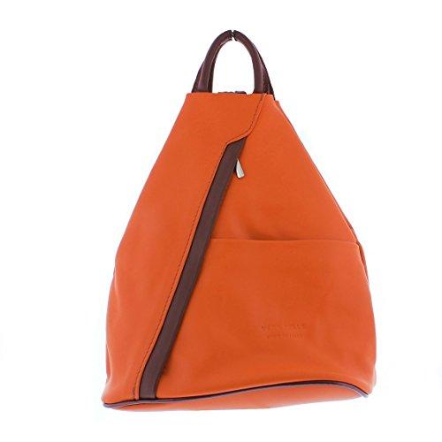 Brown Handbag Soft Rucksack Shoulder Backpack Leather F264 Orange w00CqfxF