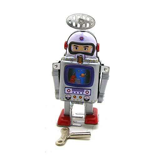 DDLmax Tinplate Nostalgic Clockwork Chain Toy Photography Prop Astronaut Robot MS476