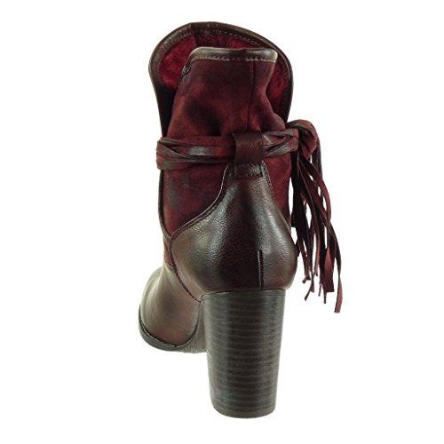 Angkorly - Zapatillas de Moda Botines cavalier bimaterial flexible mujer fleco multi-correa Talón Tacón ancho alto 9.5 CM - plantilla Forrada de Piel Burdeos