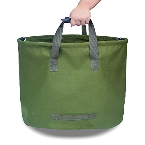 osierr6 Garden Lawn Leaf Yard Waste Bag Container,Tote Gardening Trash Reusable Heavy Duty Military Canvas Fabric Gardening Bag for Harvest Fruits,Vegetables and Other Crops(Army Green)