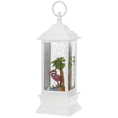 Flamingo Snow Globe Lantern: 11 Inch, White Glitter LED Light Up Snow Globe Water Lantern by RAZ Imports by RAZ Imports