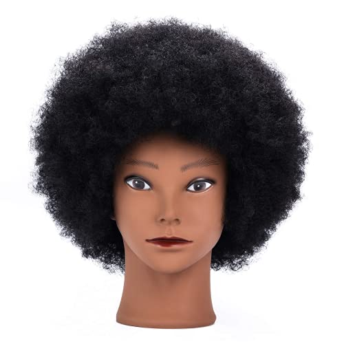 Tistaya 100% Real Hair Mannequin Head Training Head Cosmetology Manikin Practice Head Doll Head With Free Clamp Female Black Color (8inch)