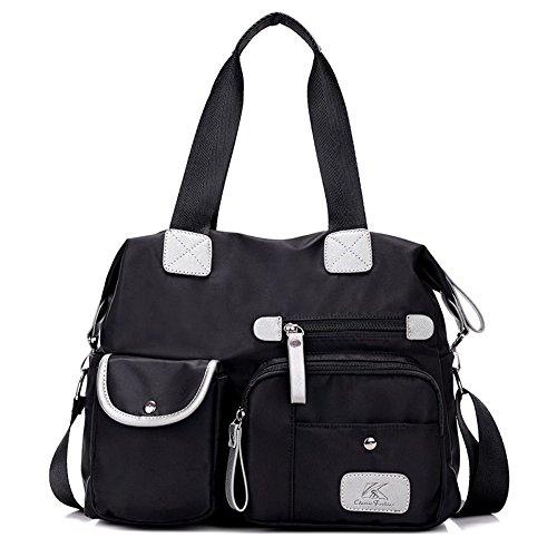 Women's handbag,Gindoly Multi Pocket Large Shoulder Bag Tote Fashion Handbag Hobo Bags for Travel School Shopping and Work Black,Nylon