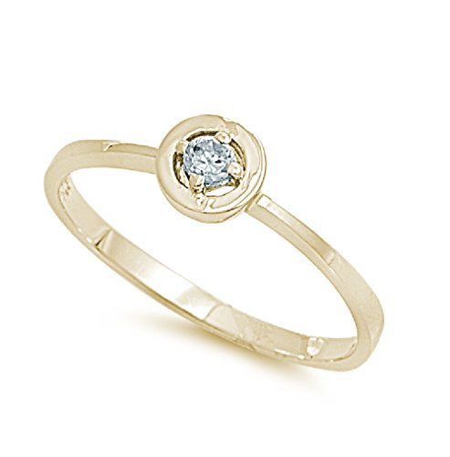 Cubic Zirconia Protection Against The Evil Eye Ring Yellow Gold-Tone Plated Sterling Silver Size 5