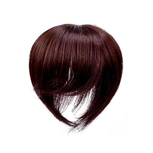 Clip In 100% Virgin Human Hair Top Piece With Simulation Scalp (8 Inches, Chestnut(Side Bangs))