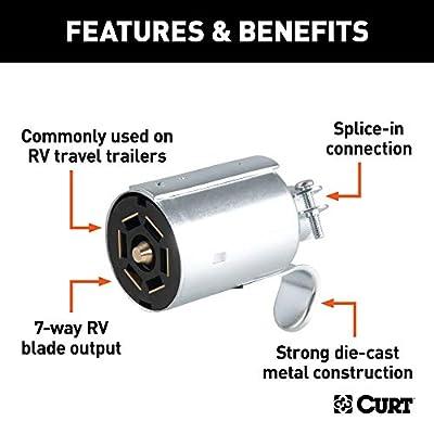 CURT 58190 Trailer-Side RV Blade 7-Way Trailer Wiring Harness Connector, 7-Pin Trailer Wiring: Automotive