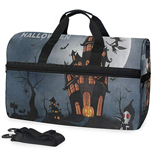 Travel Tote Luggage Weekender Duffle Bag, Happy Halloween Pumpkin House Large Canvas shoulder bag with Shoe Compartment