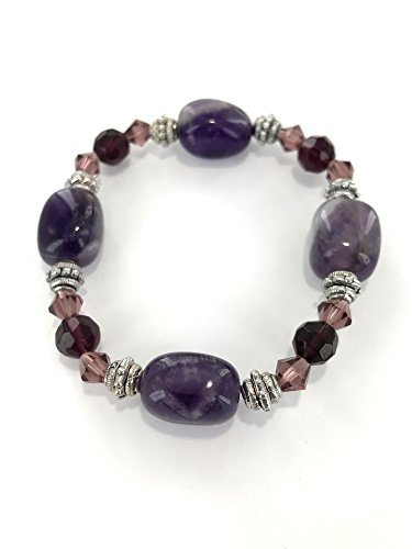 Gemstone Couple Bracelet Unisex Natural Semi-Precious Purple Amethyst Healing Crystal Beaded Mens Womens Handmade Stretch Wrap Beaded Bracelet 7.5