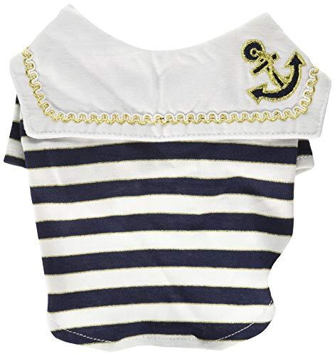 White Sailor Dog Shirt - Anima AN13320-XS Sailor Boy Pet Shirt Clothes, X-Small, White/Blue