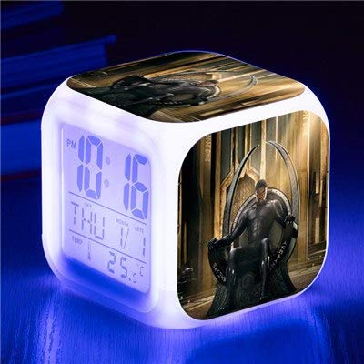 Marvel Avengers 3 Infinity War Black Panther Action Figures Alarm Clock Cute LED Digital Reloj Despertador Night Glowing -