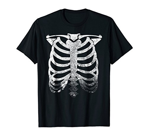 Skeleton Shirt Halloween Distressed Vintage Costume Tee ()