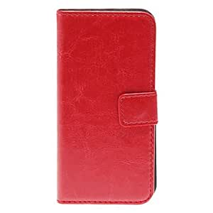 Quality Tabby Pattern PU Full Body Case with Stand and Card Slot for iPhone 5C (Assorted Colors) , Red