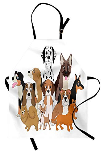 (VCFUN Dalmatian Adjustable Bib Aprons, Dogs Gang Posing Funny Best Friends Bulldog Beagle Labrador Terrier Illustration Women/Men Kitchen Apron with Extra Long Ties for Chef Cooking Baking, Small )