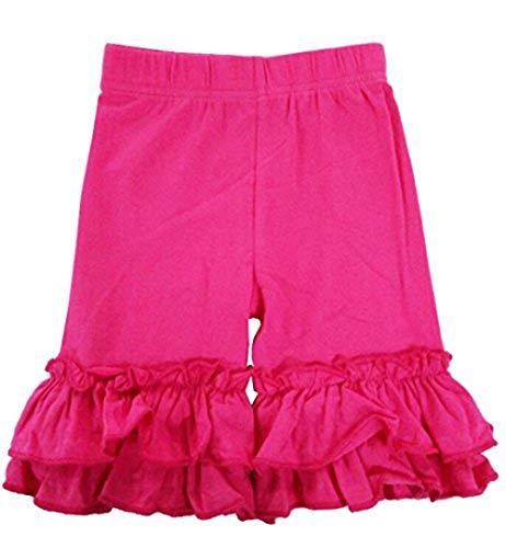 eKooBee Baby Little Girls Short Toddler Ruffle Solid Cotton Pants (6-12Month, Hot Pink) ()