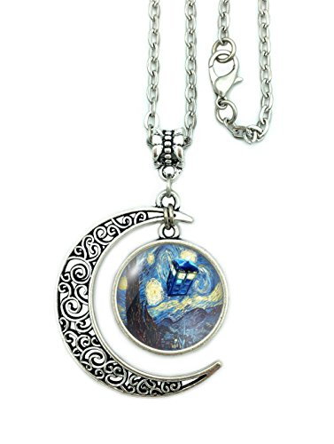 Moon Necklace Doctor Who The Tardis Crescent Pendant Vincent Van Gogh Starry Night Charms Gift For Women (Moon silver)