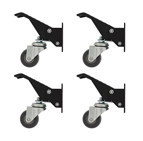 DCT Heavy-Duty Workbench Cart Swivel Urethane Caster Threaded Wheels Assembly Set with Mounting Plate Bracket 4-Pack ()